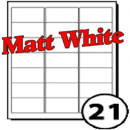 63.5 x 38.1mm Matt White Polyester Labels (21 per sheet)